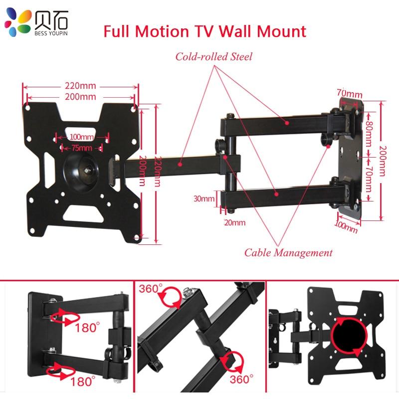 Moniteur LCD articulé à montage mural TV bras d'extension de mouvement complet pour la plupart des 32-43 pouces LED écran plat TV VESA jusqu'à 200x200mm