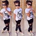 Ropa del cabrito Del Verano de los Bebés Trajes de Moda Tops de La Camiseta Pantalones de Las Polainas de Los Niños 2 UNIDS Set 5-6Y