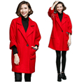 New2016 winter woolen coat women jacket coat feminino casual pea coat trench coat 3/4 sleeve overcoat tops plus size XXXXXL 8270