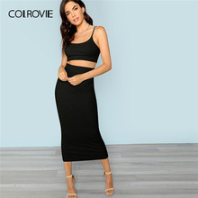 9eda8535595d COLROVIE Black Crop Cami Top and Bodycon Long Skirt Sexy 2 Piece Skirt Set  Women 2019 Summer Bodycon Elegant Two Piece Outfits