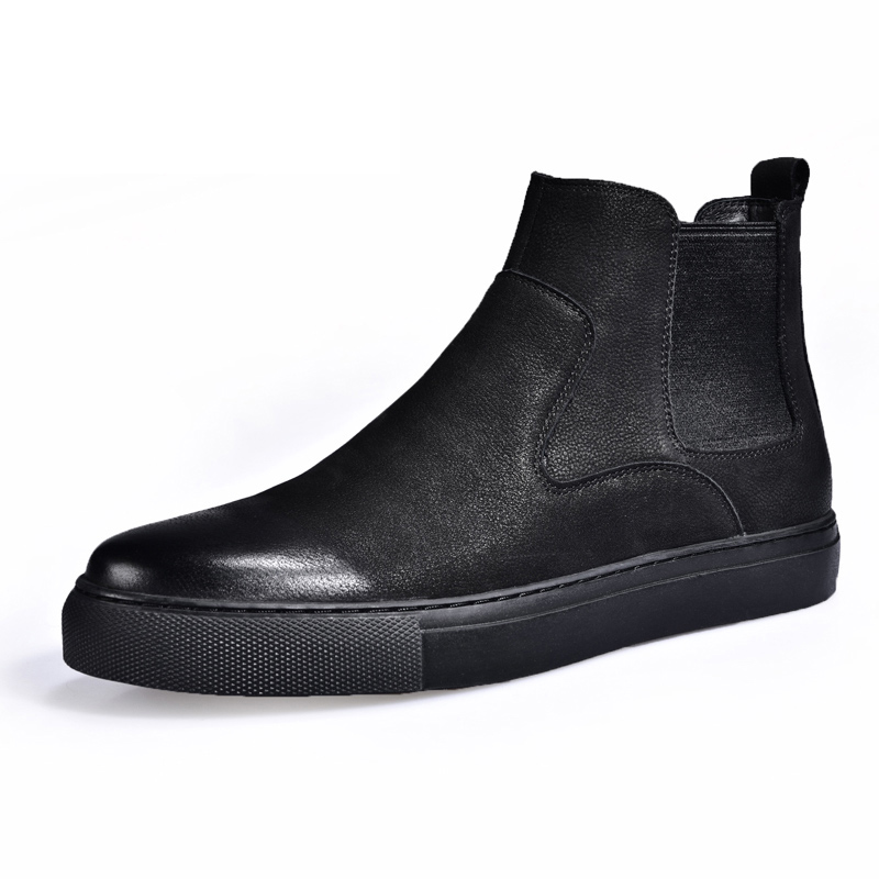 2018 spring autumn new Fur Ankle Chelsea Boots Men Shoes Male Business Casual Genuine Leather Quality Slip On Cowhide Boot Man vesonal 2017 brand casual male shoes adult men crocodile grain genuine leather spring autumn fashion luxury quality footwear man