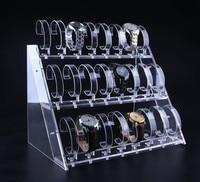 Clear Acrylic Watch display stand Three Tiers Of 24 Bit Watch Holder Jewelry Showcase Watch Bracelet display rack free shipping
