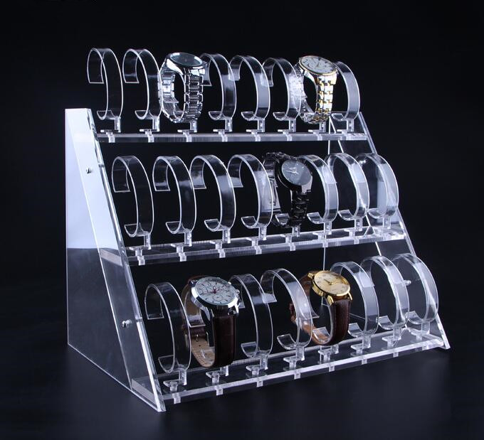 Clear Acrylic Watch display stand Three Tiers Of 24 Bit Watch Holder Jewelry Showcase Watch Bracelet display rack free shippingClear Acrylic Watch display stand Three Tiers Of 24 Bit Watch Holder Jewelry Showcase Watch Bracelet display rack free shipping