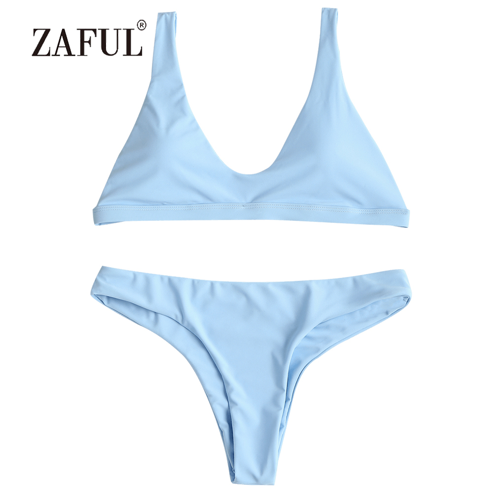 5dc1f2e410f41 ZAFUL 2018 Bikini Padded Swimwear Women Sexy Straps Swimsuit Low Waisted  Thong Bikini Solid Biquni Bathing