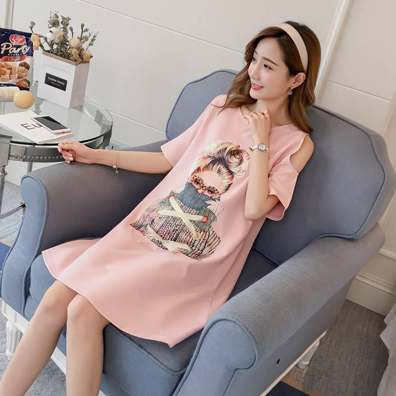 Pregnant women dress long section 2018 new summer tide mother chiffon short-sleeved maternity dress skirt