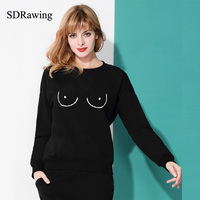 TITTIES BOOBS BOOBIES Print Sweatshirt Women Fleece Hoodies Funny Casual Female Pullover Harajuku Hip Hop Brand