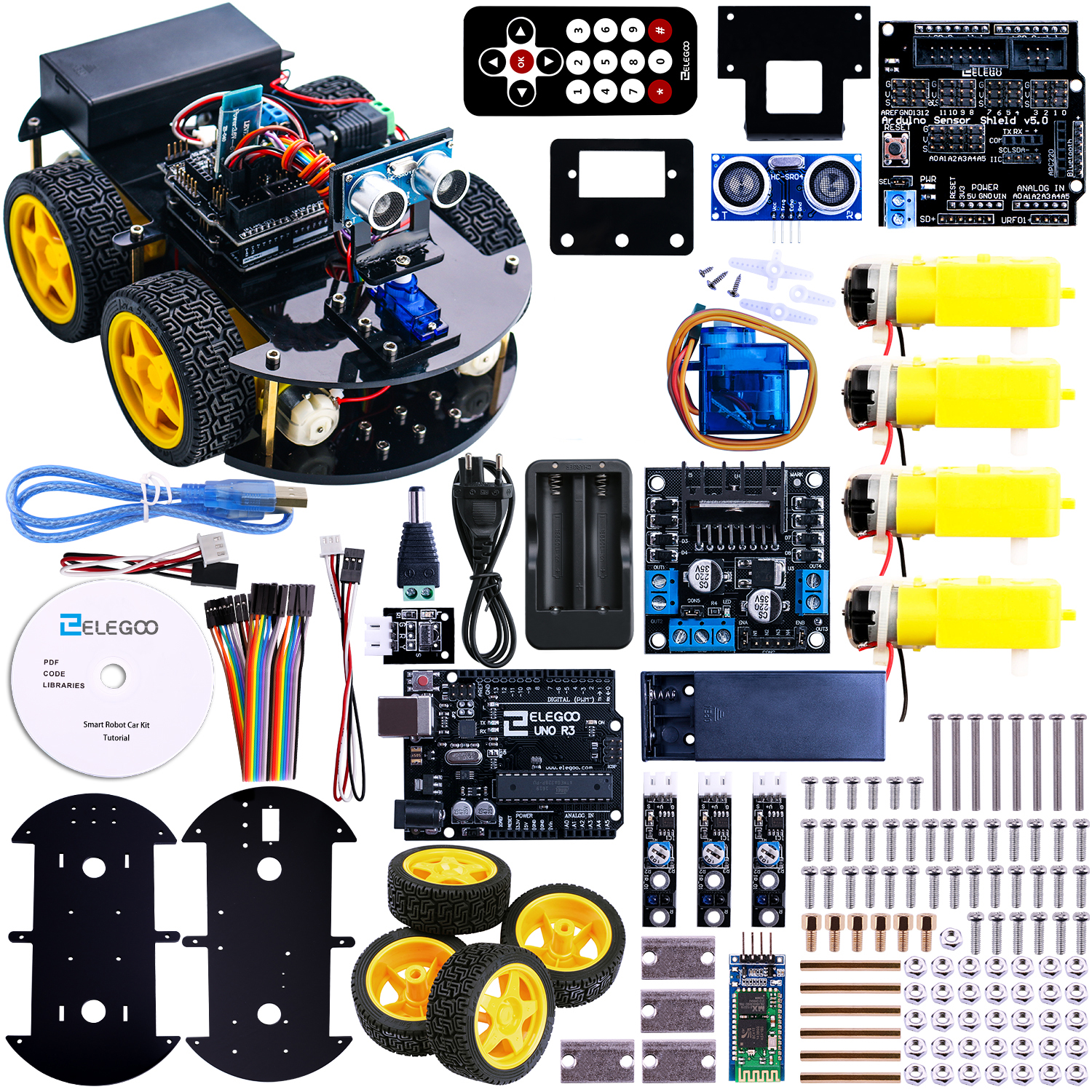 UNO Project Smart Robot Car Kit with UNO R3 Ultrasonic Sensor Bluetooth module ect Educational Toy
