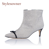 Stylesowner Bling Bling Crystal Pointed Toe Ankle Boots Women Rhinestones Mixed Color Bowtie Decor Short Boots