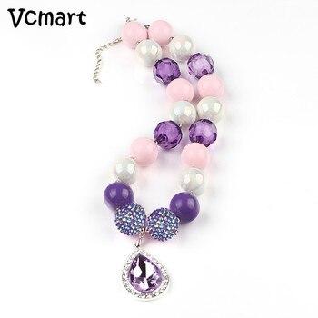 1 Uds Sofia la primera grueso collar color chicle DIY princesa púrpura lágrima Amule Collar para chicos, niños, bebés