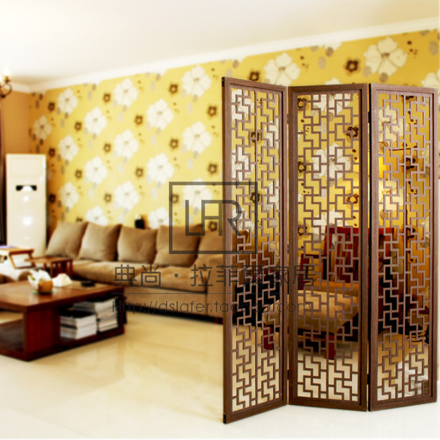Bon Modern Brief Household Wooden Screen Chinese Style Vintage Partition Walls  Cutout Wool Off Screen Folding Console