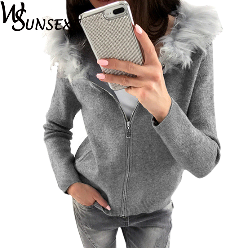 Women Warm Autumn Winter Sweatshirts 2017 New Casual Long Sleeve Outwear with Fur Hooded Solid Color Zipper Hoodies Pullover Top