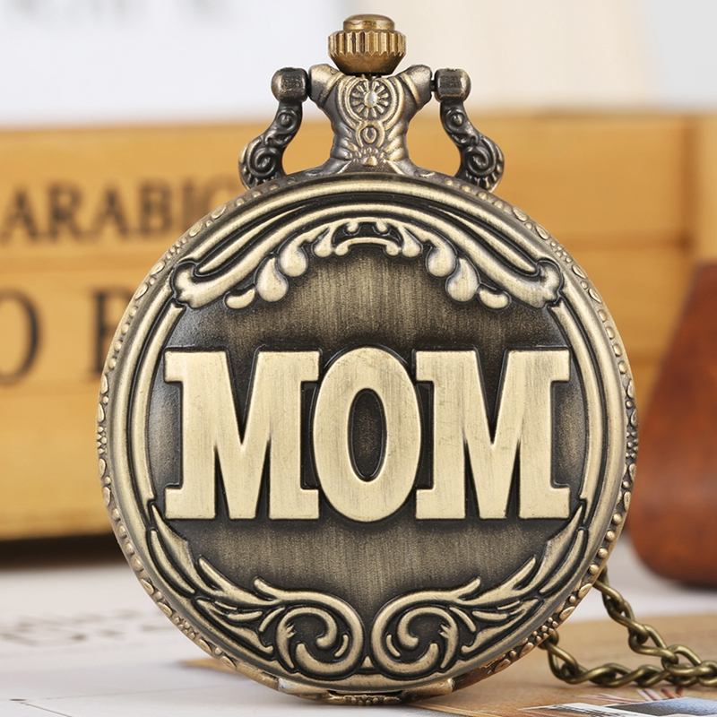 Retro Bronze Big MOM Letter Quartz Pocket Watch Necklace Pendant Family Souvenir Gifts For Mom Mama On Mother's Birthday Day