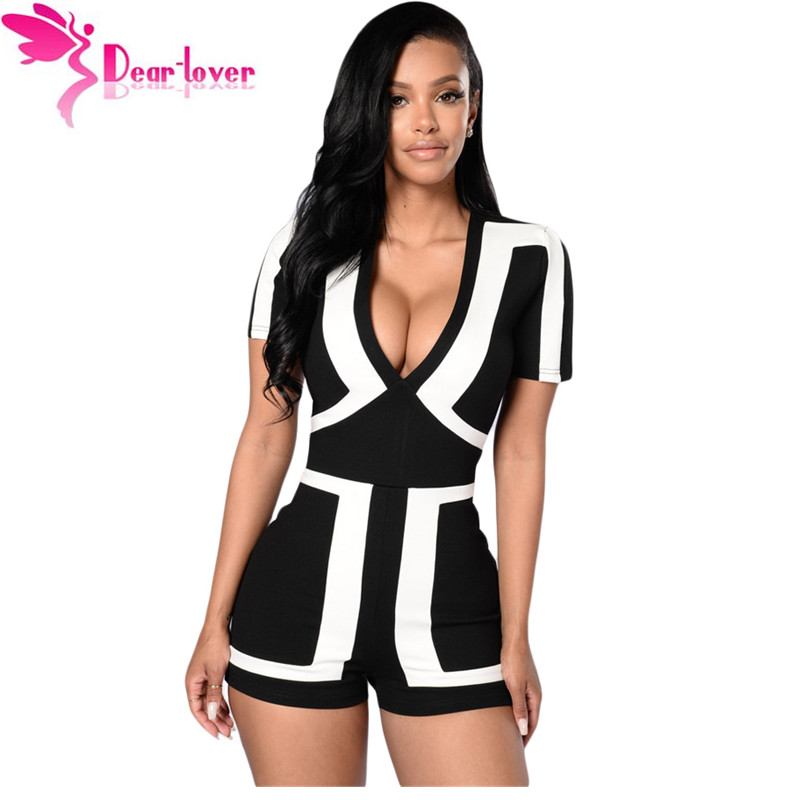 Dear Lover sexy jumpsuit summer short sleeve Classic Colorblock Solid Black Back Romper Women's Shorts Bodysuits LC64063