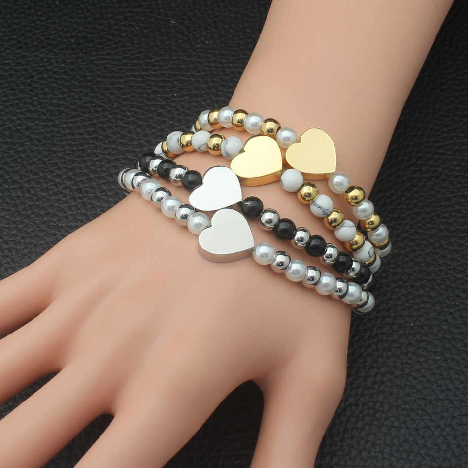 New Fashion Stainless Steel Jewelry Heart  Pearl 6mm Bead Bracelet High Quality Jeepsoon BBJFBRBE