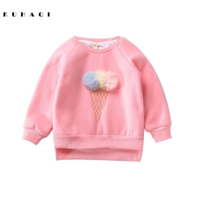 Осенняя хлопковая одежда для маленьких девочек 3D Hairball мороженое с длинным рукавом Теплые Топы Детские повседневные Пуловеры Повседневное Обувь для мальчиков Пуловеры для женщин j6068