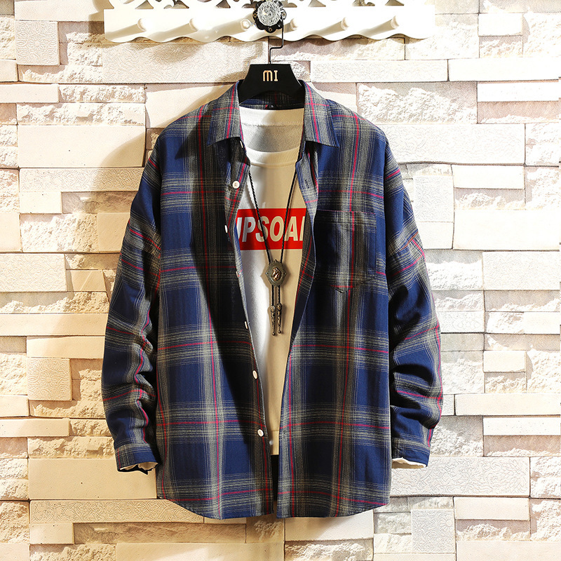0157 Long Sleeve Shirt Men Slim Fit Harajuku Streetwear Casual Plaid Shirt For Man Yellow Korean Fashion Cotton Retro Spring in Casual Shirts from Men 39 s Clothing