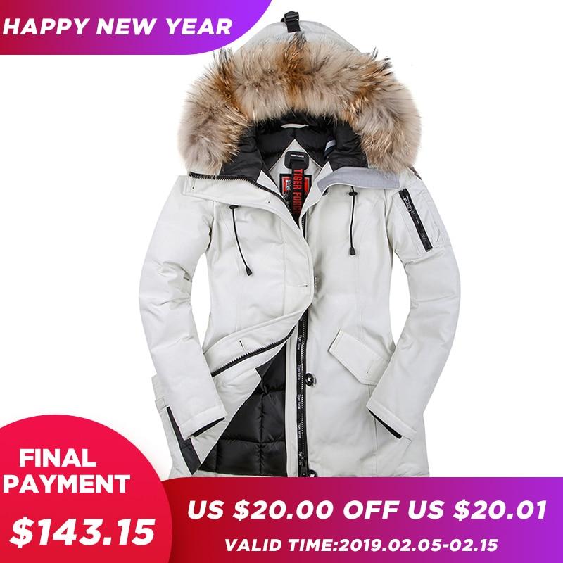 TIGER FORCE 2018 Women Winter Coat   Parka   Padded Coat Winter Jacket Women European Size Real Raccoon Fur Collar Free Shipping
