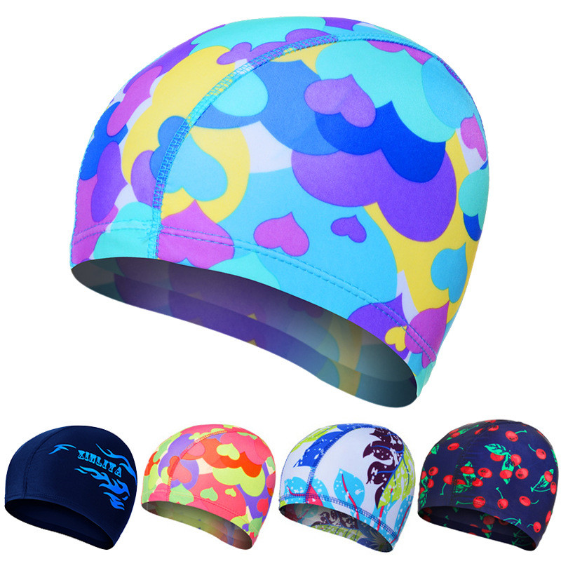New print flower swimming cap waterproof Protect Ears Long Hair swim pool hat for adults and kids training swim hat cap 9 colors chic flower shape and sequins embellished newsboy hat for women