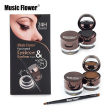 Music Flower Brand Makeup Set 4 In 1 Brown + Black Gel Eyeliner Eyebrow Powder Kit Waterproof Lasting Eye Liner Eye Brow Make Up