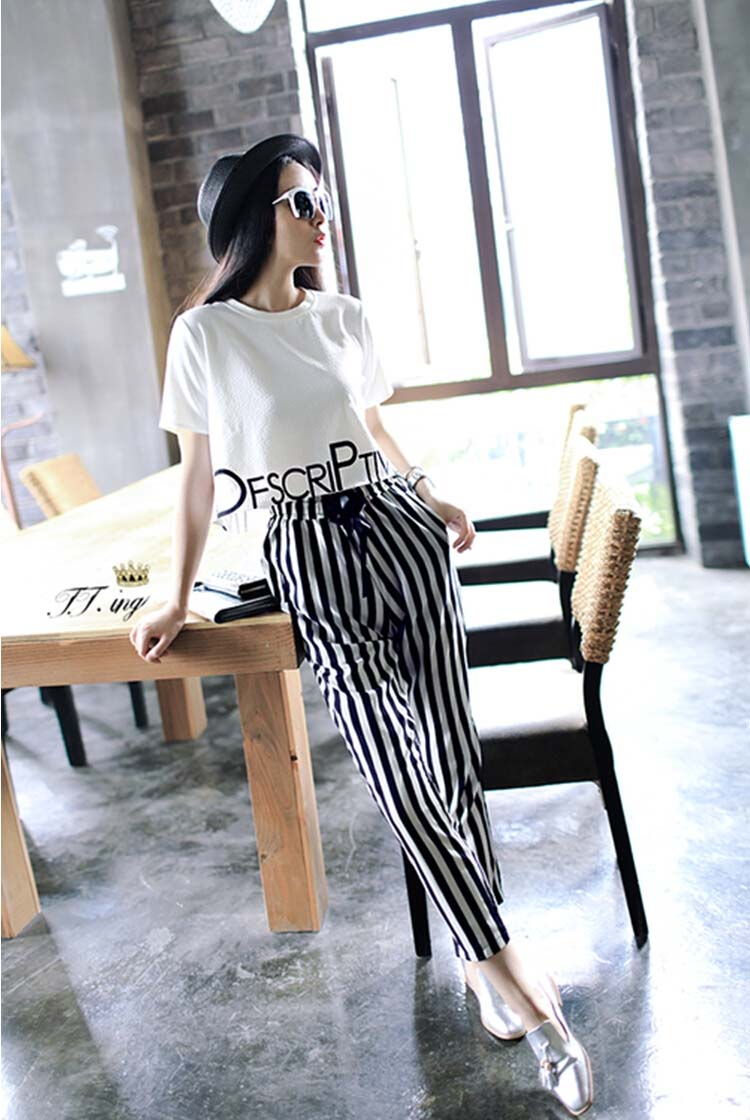 HTB1fwLXxf5TBuNjSspmq6yDRVXal - 2pieces summer set women tracksuit outfit casual lovely printing cotton letter short t-shirt tops+striped harem pants sweatshirt