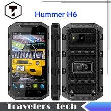 "Original hummer H6 IP68 teléfono Android resistente A Prueba de agua Walkie talkie smartphone MTK6582 1 GB RAM + 8 GB ROM 5 ""HD H8 snopw M8 asesino"