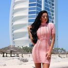Save 4.16 on factory Wholesale 2016 new dress Pink stretch mesh Pink stretch mesh Sexy Cocktail party Bandage dress (H0945)