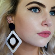Exaggerate White And Black Geometric Square Acrylic Earrings Drop Party Rock Big Round Long Women Girls Punk earring