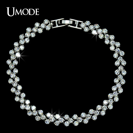 font b UMODE b font Brand font b Bracelets b font Bangles Fashion Jewelry Rhodium