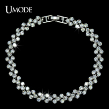 UMODE Brand Bracelets Bangles Fashion Jewelry White Gold Color Top Quality AAA Tiny CZ Bracelets For