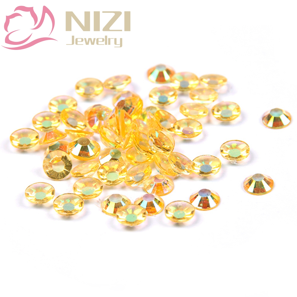 Resin Crystal Rhinestones 2-6mm Light Topaz AB Color 14 Facets For 3D Nail Art New Design Decorations Flatback Non Hotfix Stones 12 facets of a crystal