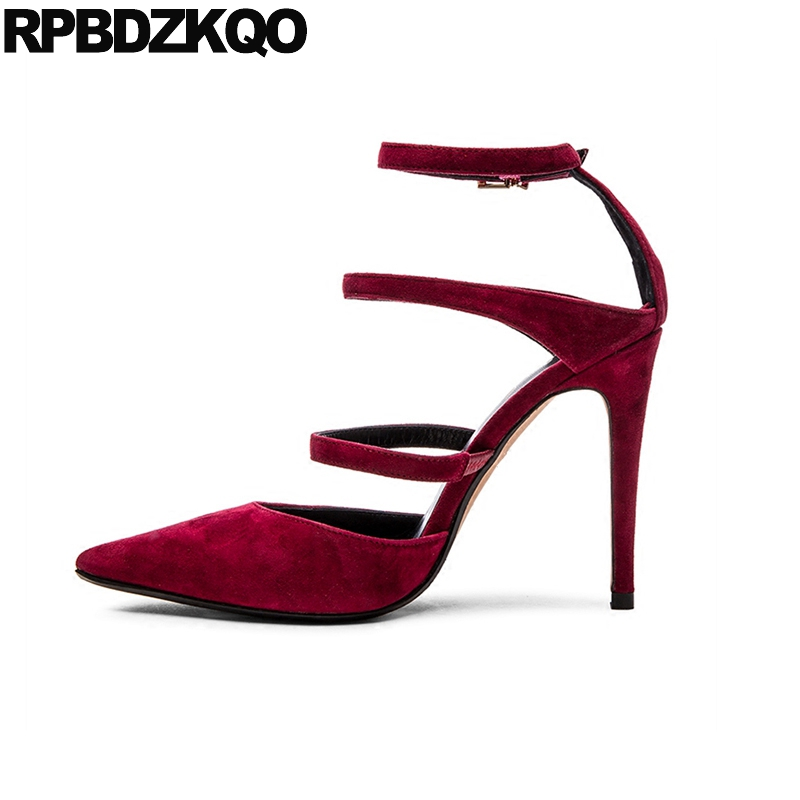 Catwalk High Heels Super Ultra Extreme Shoes Pointed Toe Strappy Ladies 3 Inch Ankle Strap Suede Size 33 Red Stiletto Pumps crystal wedding shoes women red rhinestone suede jewel pointed toe high heels black size 33 ankle strap super pumps bride thin