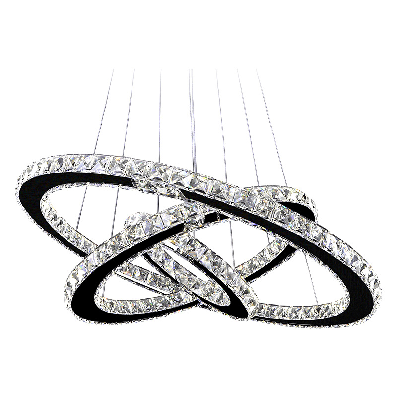 Creative Stainless Steel Ring Pendant Lights Hanging Lights Modern Led Crystal Pendant Lights Round Bedroom Living Room ZP428110