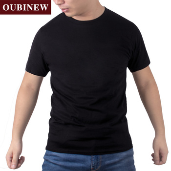 a46fb49c86a OUBINEW Men s Cotton Casual T-shirt O neck short sleeve loose Classical  solid color t