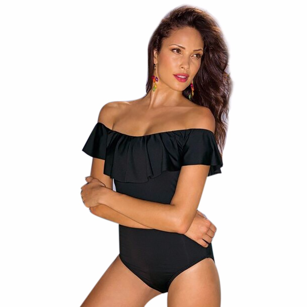 2017 New One Piece Swimsuit Women Swimwear Brazilian Sexy Strapless Swimsuit Female Retro Pure Color Beachwear Monokini