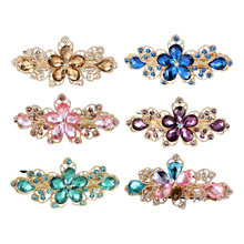 Hairpins Clip Crystal for Women Fashion Rhinestone Pearl Flower Hair Clips retro style Accessories