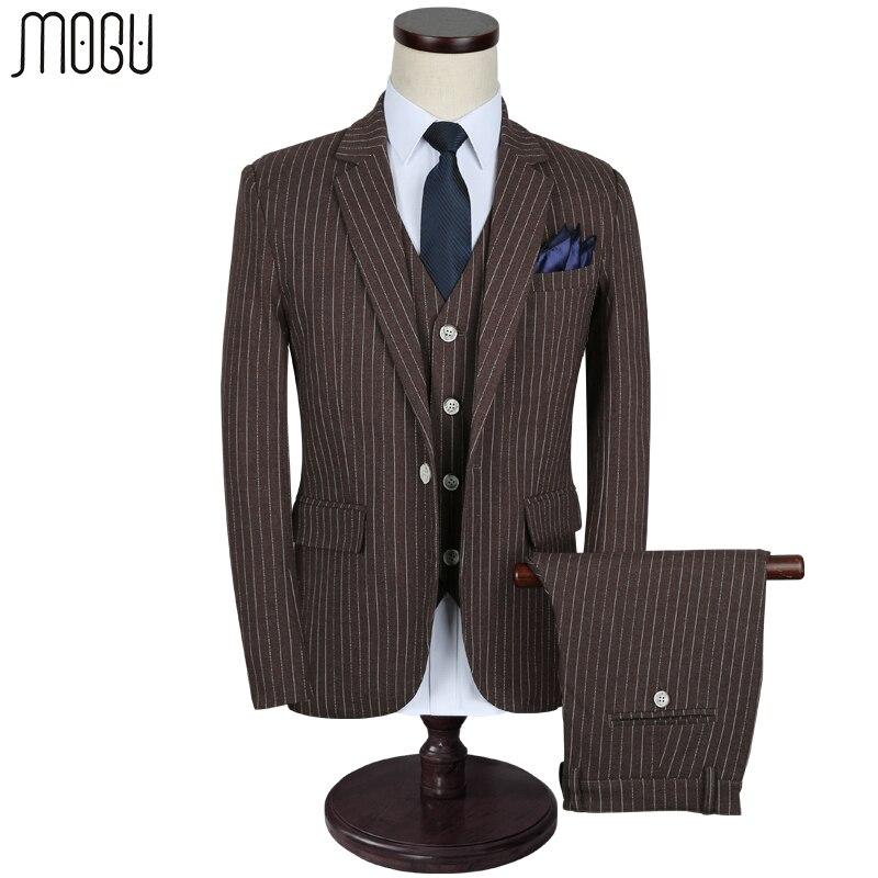 MOGU Trois Pièce Bande Slim Fit Hommes Costumes 2017 de Haute Qualité nouvelle Arrivée De Mode Casual Hommes de Costumes Asiatique Taille 5XL Hommes de Costume
