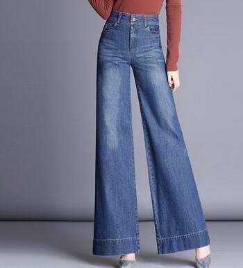 Wide Leg Pants For Women Plus Size Denim Jeans Casual Autumn Spring High Waist New Fashion Female Trousers Cotton Blend Lyq0703