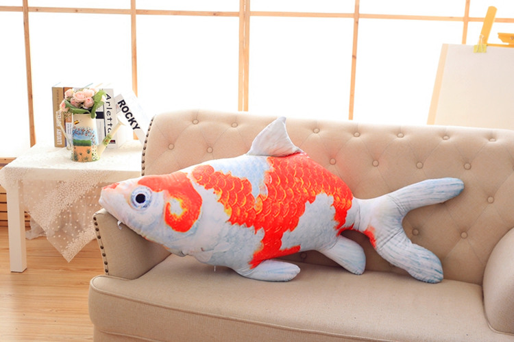 new creative plush fish toy lovely red&white fish pillow doll gift about 100cm the huge lovely hippo toy plush doll cartoon hippo doll gift toy about 160cm pink