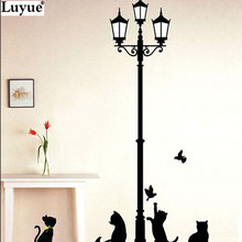 Wall Stickers Hot Naughty Cats Birds and Street light Lamp Post home decoration School Room Kindergarten Wall Sticker 7Style