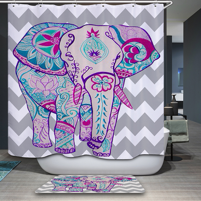 >Waterproof & Mildewproof Polyester Shower Curtain Nautical Anchor Colorful elephant <font><b>House</b></font> <font><b>Bathroom</b></font> <font><b>Decor</b></font> With