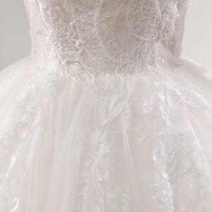 Image 5 - Fansmile New Illusion Vintage Quality Lace Wedding Dress 2020 Ball Gown Princess Bridal Wedding Gowns Vestido De Noiva FSM 559F