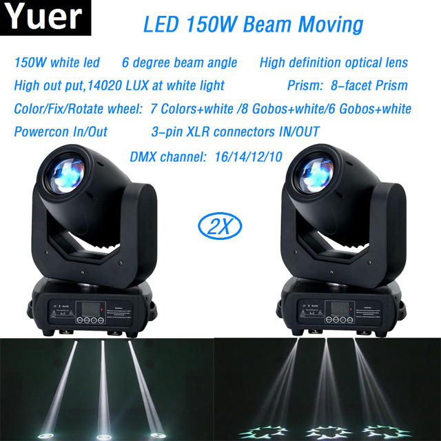 2Pcs/Lot 150w moving head beam light high output white led DMX pure color mixing stroboscope rotation/fix gobo led strip par led