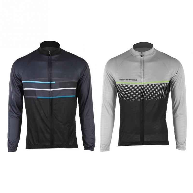 Men/'s New Cycling Jersey Breathable Tight Bike Clothing Bicycle Long Sleeve Tops