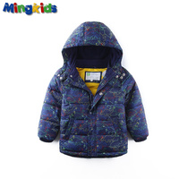 Mingkids High Quality Waterproof Windproof Fleece Lining Spring Autumn Warm Winter Jacket For Boys Outdoor Dinosaurs