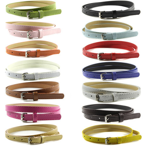 New Fashion Women Multi Color Thin Skinny Belts Faux Leather Waistband Casual Belts Strap 15