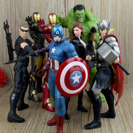 The Avengers Cosplay Thor Hulk Black Widow Captain America Iron Man Hawkeye 23cm/9.1'' PVC GK Action Figures Toys Model