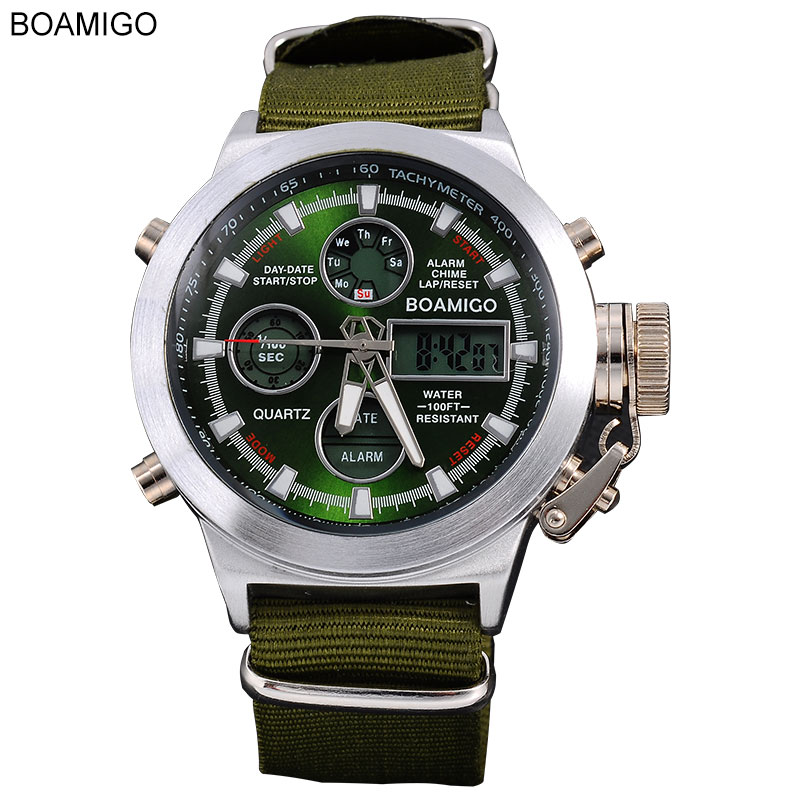 BOAMIGO Watches Men Sports Military Quartz Watches Analog Digital LED Nylon Leather Waterproof Wristwatches F517 Reloj Hombre boamigo men sports watches brown leather band man military quartz led digital analog casual wristwatches waterproof reloj hombre