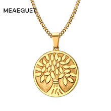 Meaeguet Classic Tree of Life Pendant Necklace Gold-Color Stainless Steel Wishing Tree Necklace&Pendant For Men Jewelry
