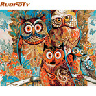 RUOPOTY diy frame Vintage Owl DIY Painting By Numbers Home Decoration Unique Gift Wall Art Picture Handpainted Oil Painting Arts