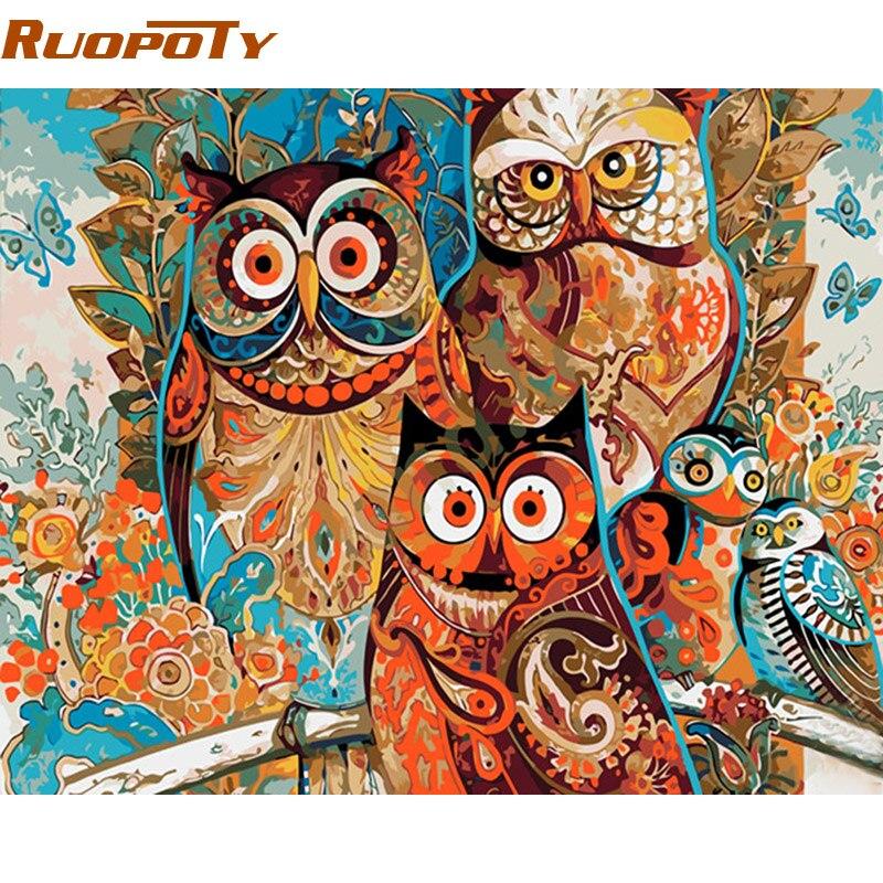 RUOPOTY fai da te cornice D'epoca Gufo DIY Pittura By Numbers Decorazione Della Casa Regalo Unico Wall Art Immagine Dipinta A Mano Pittura A Olio Arti